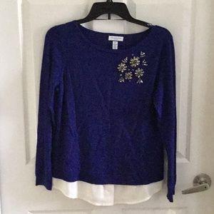 Charter Club Sweaters - Bright blue jeweled sweater